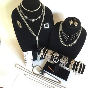 24 piece Vintage to Modern Jewelry Lot Silver Tone